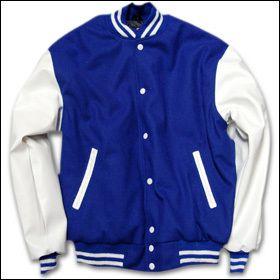 College Jacke blau/weiß Old School (Rückendruck)