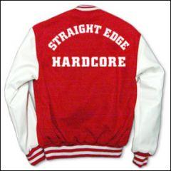 College Jacke rot/weiß Straight Edge (Rückendruck)